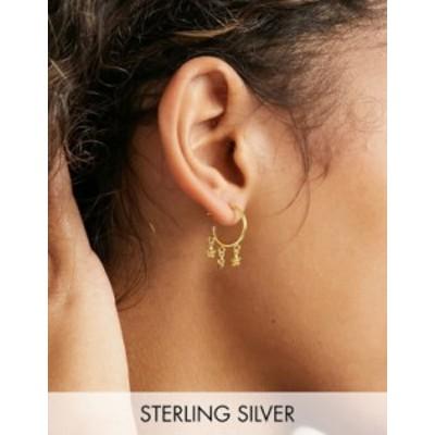 エイソス レディース ピアス・イヤリング アクセサリー ASOS DESIGN sterling silver with gold plate hoop earrings with daisy charms