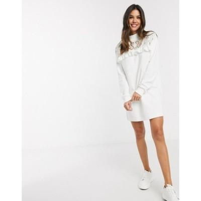 リバーアイランド レディース ワンピース トップス River Island broderie front detail sweat dress in cream