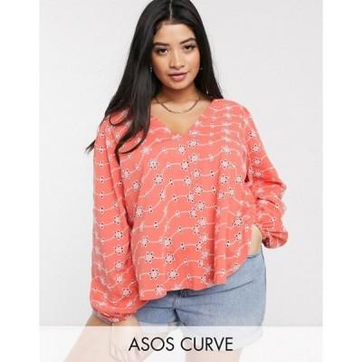 エイソス レディース シャツ トップス ASOS DESIGN Curve swing top with v neck in contrast broidery with puff sleeve