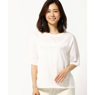 tシャツ Tシャツ ロゴ刺繍入り半袖クルーネックTシャツ