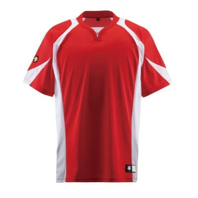 【デサント】 ベースボールシャツ メンズ レッド系 140 DESCENTE