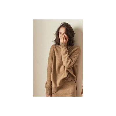 カシミヤのセーター冬服 タートルネックセーター 女性 ニットプルオーバー   Camelサイズ M