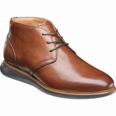 フローシャイム ブーツ Fuel Plain Toe Chukka Cognac Leather/Brown Sole