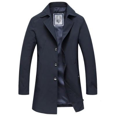 メンズ トレンチコート ジャケット 通勤 大きいサイズ ロング 春コートアウター フォーマル スプリングコート ビジネス コート 黒 ブラック スリム