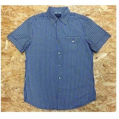 BANANA REPUBLIC バナナリパブリック Mサイズ メンズ シャツ チェック フラップポケット フレンチフロント 半袖 綿100% 青系×白