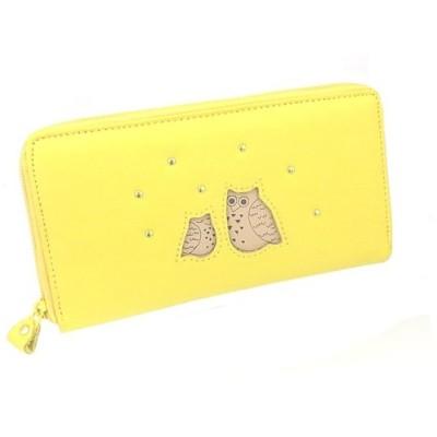黄色い親子ふくろう・牛革・長財布 幸福「不苦労」鳥・風水財布●福ぶくろう フクロウ