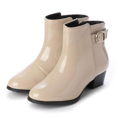 マシュガール masyugirl 【3E/幅広ゆったり・大きいサイズの靴】 ベルト使いレインブーツ (アイボリーエナメル) SOROTTO