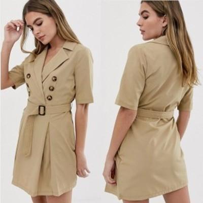 エイソス ASOS ベルト付きウエスト ドレス ノッチ襟 ベルト ワンピース 送料無料 レディース ファッション