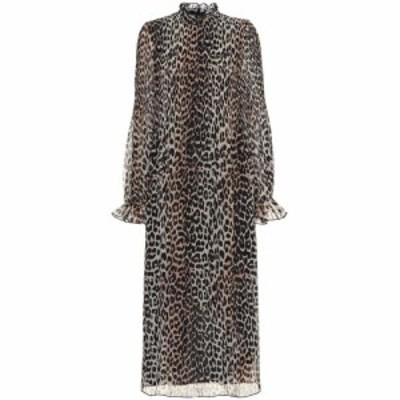 ガニー Ganni レディース ワンピース ミドル丈 ワンピース・ドレス Leopard-print georgette midi dress Leopard