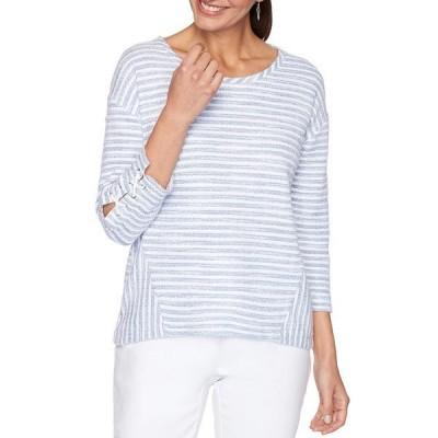 ルビーロード レディース Tシャツ トップス Petite Size Sail Stripe Scoop Neck Lace Detail 3/4 Sleeve Hi-Low Top Periwinkle Multi