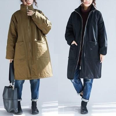 2021新作中綿コート レディース ロング丈 長袖 アウター ゆったり 大きいサイズ 厚手 防寒 あったか