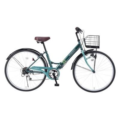 北海道・四国・九州・沖縄・離島配送不可 代引不可 自転車 折りたたみ自転車 シティサイクル 26インチ パンクしにくい グリーン MY PALLAS M-507 GR
