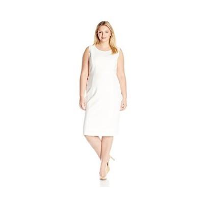 Kasper Women's Plus Size Stretch Crepe Sheath Dress, Vanilla Ice, 14W