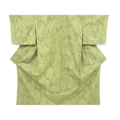 宗sou 幾何学模様織り出し手織り真綿紬単衣着物【リサイクル】【着】