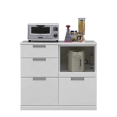 キッチンカウンター 90 キッチン 収納 おしゃれ 引き出し 完成品 白