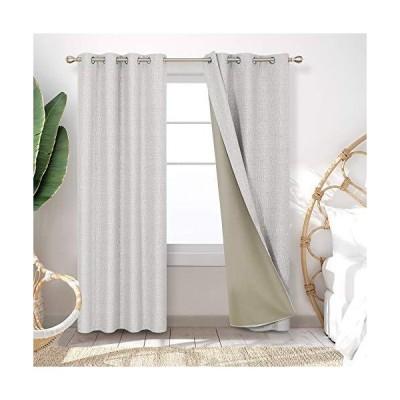 Deconovo フェイクリネン断熱遮光カーテン ストローマット パターン 部屋を暗くするドレープ エネルギー効率の良いドレープ リビングルーム用 5