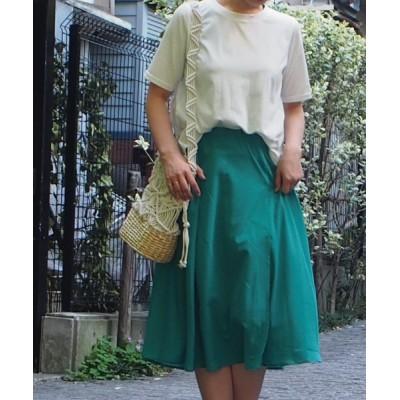 (INTERPLANET/インタープラネット)【セットアップ対応商品】麻ライクフレアースカート/レディース グリーン