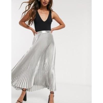 エイソス レディース スカート ボトムス ASOS DESIGN metallic pleated midi skirt in silver Silver