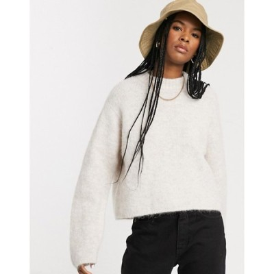 ウィークデイ レディース ニット・セーター アウター Weekday Paulina boxy round neck sweater in beige melange