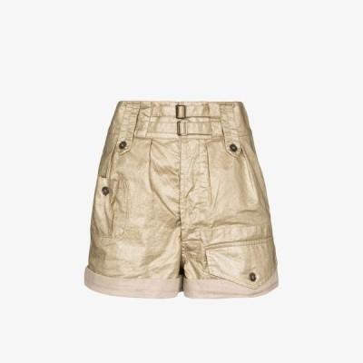 イヴ サンローラン Saint Laurent レディース ショートパンツ ボトムス・パンツ double waistband linen shorts neutrals