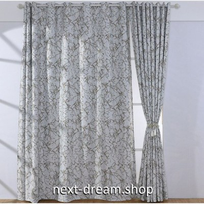☆ドレープカーテン☆ 北欧モダン ホワイト&カーキ W100cmxH250cm 高さ調節可能 フックタイプ 2枚セット ホテル m05742