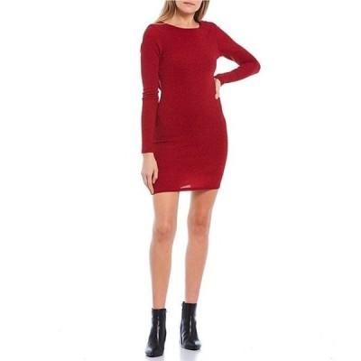 ティーズミー レディース ワンピース トップス Long-Sleeve Cowl-Back Glitter Knit Sheath Dress