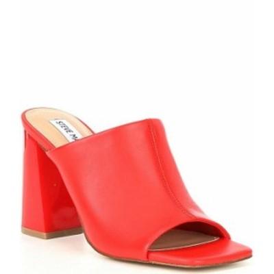 スティーブ マデン レディース サンダル シューズ Tule Leather Block Heel Dress Square Toe Mules Red