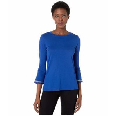 マイケルコース レディース シャツ トップス Embroidered Chain 3/4 Sleeve Top Twilight Blue