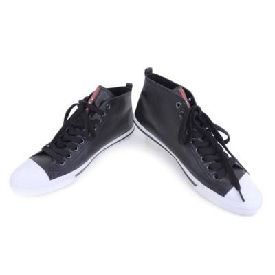 美品 PRADA SPORT プラダスポーツ メンズ ハイカット スニーカー レザー ブラック 黒 6 24cm  20190719