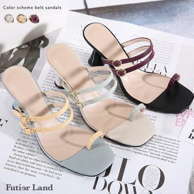 サンダル 配色 ベルト デザインヒール シューズ 靴 ヒール 韓国 ファッション 配色ベルトサンダル