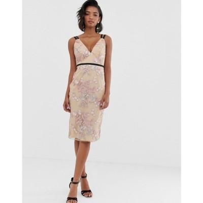 エイソス ASOS DESIGN レディース ワンピース ワンピース・ドレス occasion pencil midi dress in floral embroidery Floral embroidery