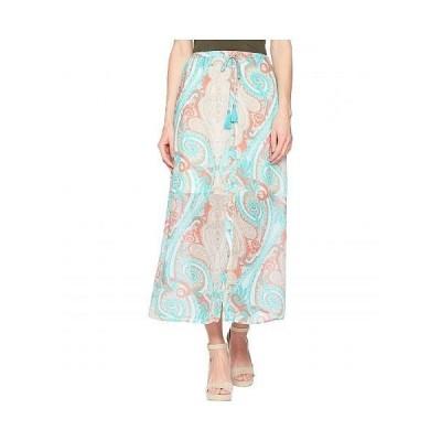 "Tribal トリバル レディース 女性用 ファッション スカート Printed 37"" Pull-On Maxi Skirt with Tassel - Coral"
