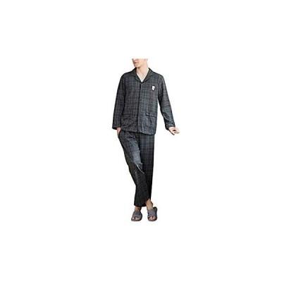 メンズパジャマ 長袖上下セット 前開き 綿 コットン ルームウェア 部屋着 便利服 綿製品吸汗速乾