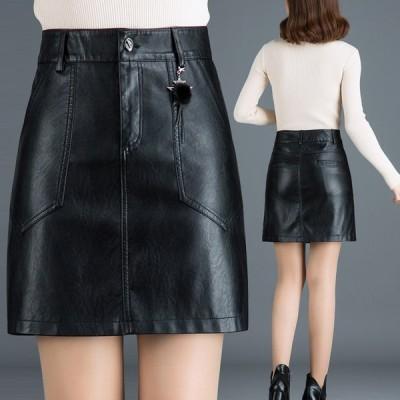 大きいサイズ Aラインスカート 膝丈スカート レディース レザースカート  PU革 柔らか タイトスカート 台形 美脚効果 ボトムス 通勤 OL 着痩せ おしゃれ