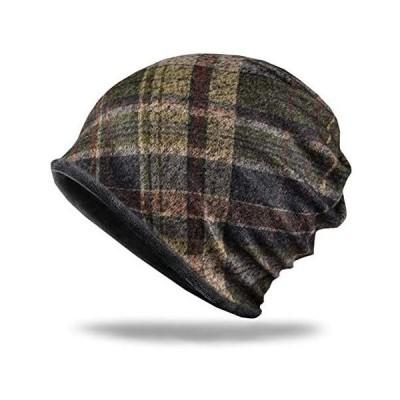 WHITE FANG(ホワイトファング) チェック柄 ニット帽 帽子 キャップ 裏起毛 防寒 2way メンズ (03:グリーン サイズ)