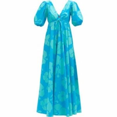 スタウド Staud レディース ワンピース Vネック ワンピース・ドレス Amarettis V-neck floral-print cotton-blend dress Blue