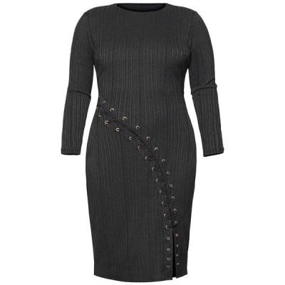 ライチェルレイチェルロイ ワンピース トップス レディース Plus Size Eyelet Lace-Up Sheath Dress Black