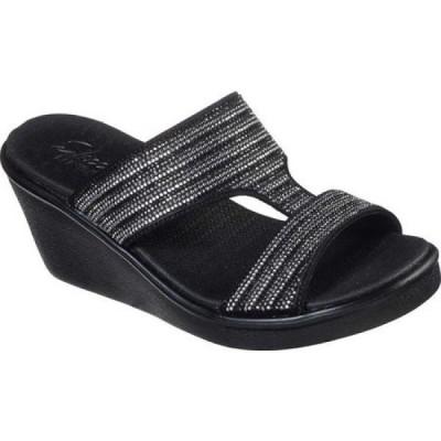 スケッチャーズ Skechers レディース サンダル・ミュール ウェッジソール シューズ・靴 Rumble On Bling Gal Wedge Sandal Black/Silver