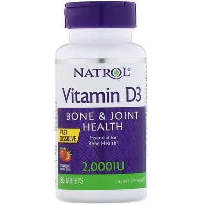 ビタミンD3、ストロベリー、2,000 IU、90錠