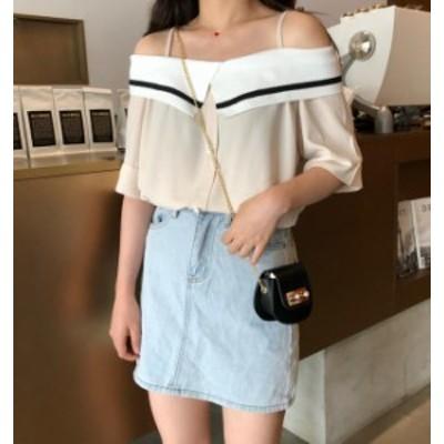 韓国 ファッション レディース トップス ブラウス シャツ オフショルダー ゆったり オルチャン 半袖 無地 セクシー ガーリー シンプル