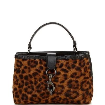 レベッカミンコフ レディース ハンドバッグ バッグ Edie Whipped Top Handle Quilted Leopard Haircalf Satchel Bag