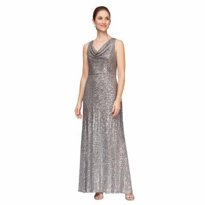 アレックスイブニングス ワンピース トップス レディース Long Sleeveless Ombre Sequin Dress Silver/Multi