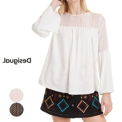 sale 50%off Desigual デシグアル レディース ミセス ファッション トップス 長袖 花柄 30代 40代 50代 ホワイト/ブラック 大きいサイズ