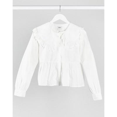 オンリー シャツ ブラウス レディース Only shirt with lace trim collar in white エイソス ASOS ホワイト 白