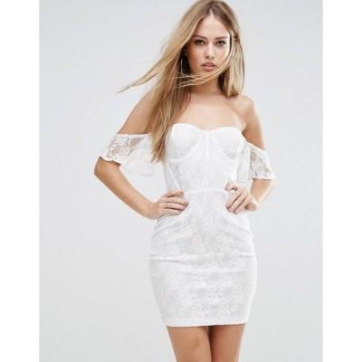 エイソス レディース ワンピース トップス NaaNaa Off Shoulder Lace Bodycon Dress With Corset Detail