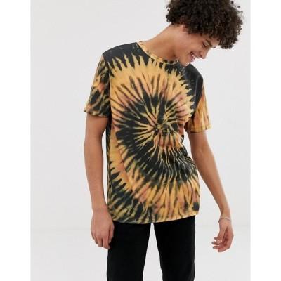 エイソス メンズ Tシャツ トップス ASOS DESIGN relaxed t-shirt with peace tie dye wash MULTI