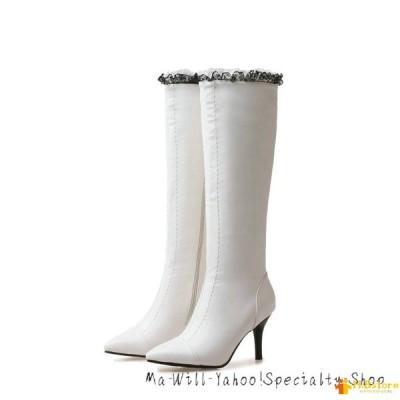 母の日 レディース ロングブーツ ピンヒール ポインテッドトゥ 長靴 長ブーツ 痛くない 8CMヒール 裏ボア 歩きやすい ファスナー 美脚 秋冬 通勤 22cm ホワイト