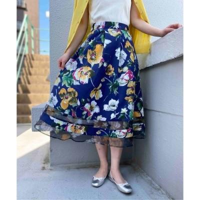 スカート 裾シアーオーガンジーフラワースカート