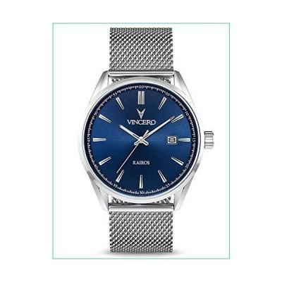 Vincero 高級メンズKairos腕時計 - 42mm アナログ腕時計 - 日本製クォーツムーブメント ブルー/シルバーメッシュ