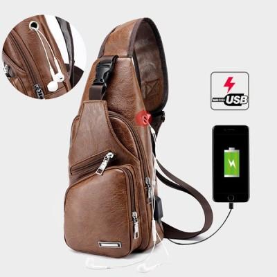メンズアウトドア ショルダーチェストバッグ 旅行デイパック USB充電ポート付き